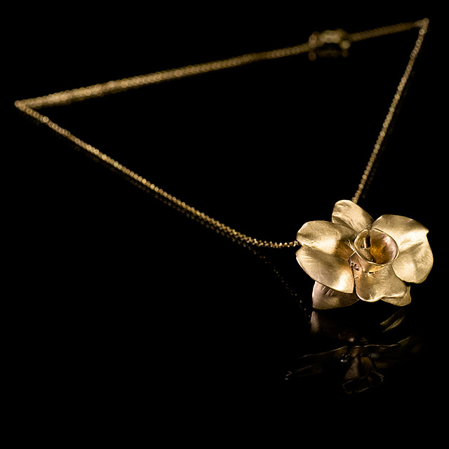 Farrah Dragon Gold Phalaenopsis Orchid Necklace