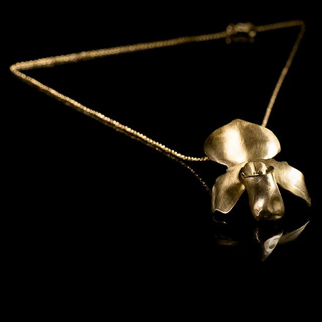 Farrah Dragon Gold Slipper Orchid Necklace
