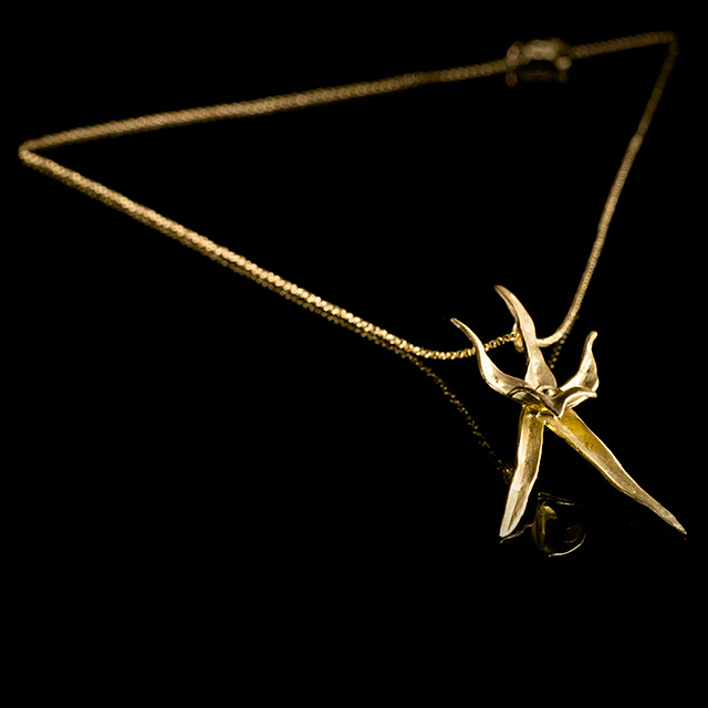 Farrah Dragon Gold Star Orchid Necklace
