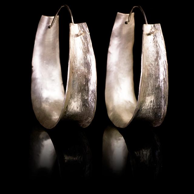 Farrah Dragon Silver Ethnic Large Earrings