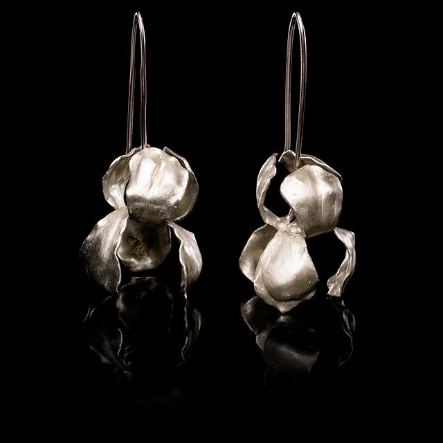 Farrah Dragon Silver Iris Earrings