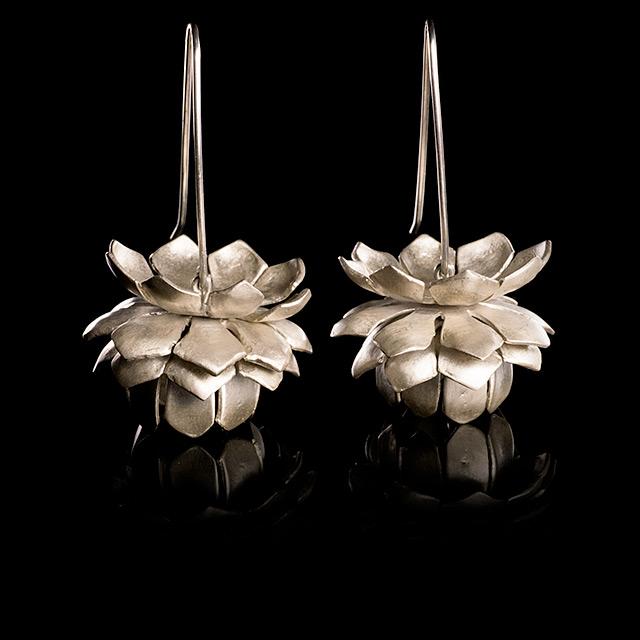 Farrah Dragon Silver Lotus Earrings