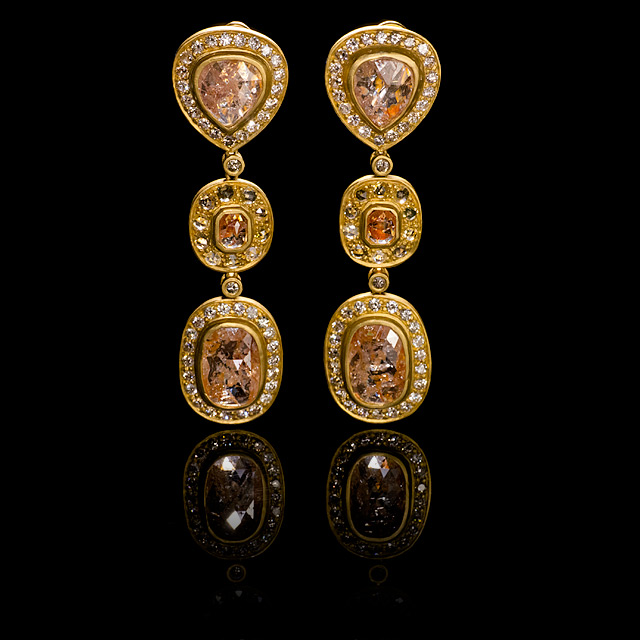 Geoffrey Young Apricot Diamond Gold Earrings