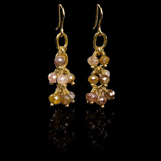 Geoffrey Young Colored Faceted Diamond Beads Gold Earrings