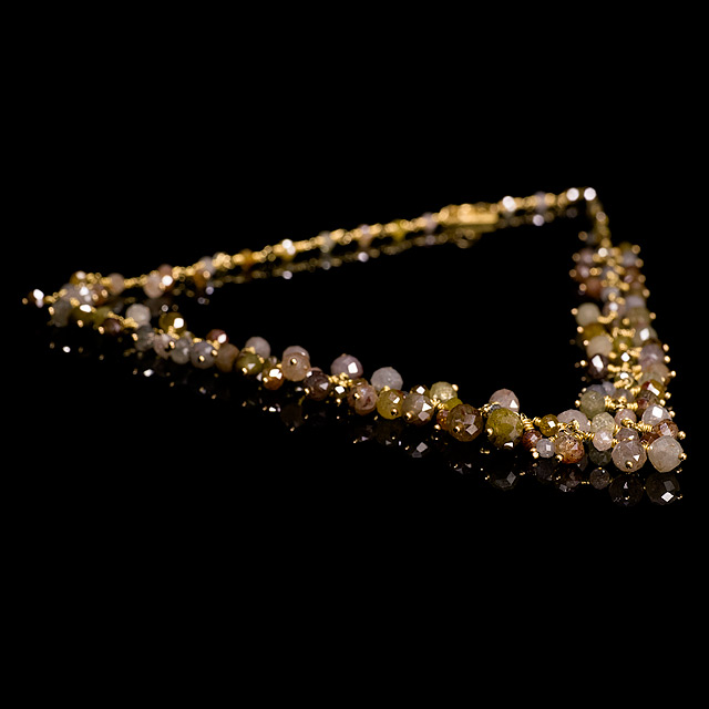Geoffrey Young Colored Faceted Diamond Beads Gold Necklace