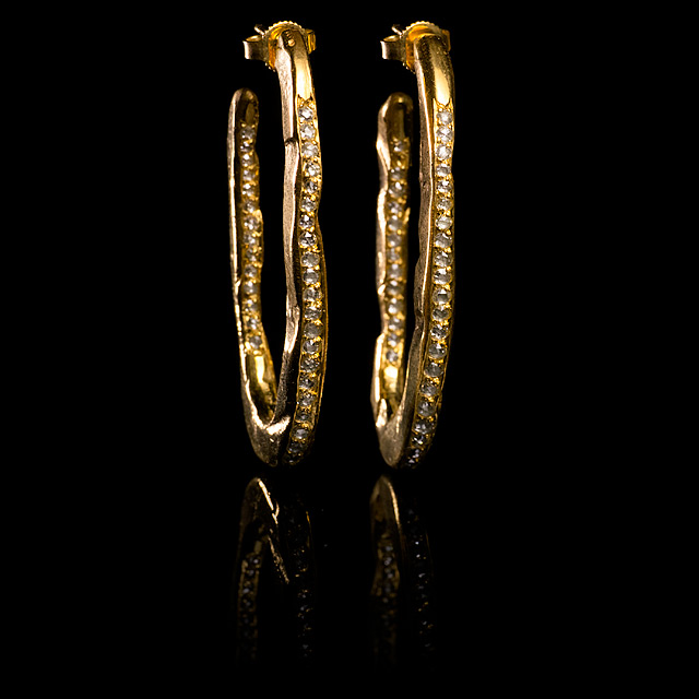 Geoffrey Young Diamond & Gold Hammered Hoop Earrings