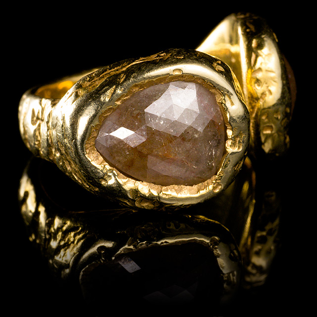 Geoffrey Young Diamond & Gold Open Pear Ring