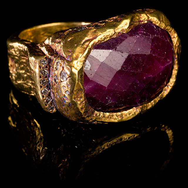 Geoffrey Young Diamond & Rough Ruby Gold Ring