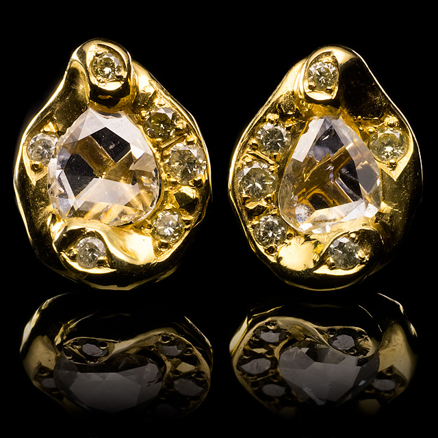 Geoffrey Young Diamond Stud Gold Earrings