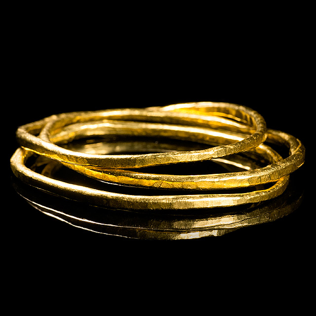 Geoffrey Young Solid 24k Gold Bangle Bracelets