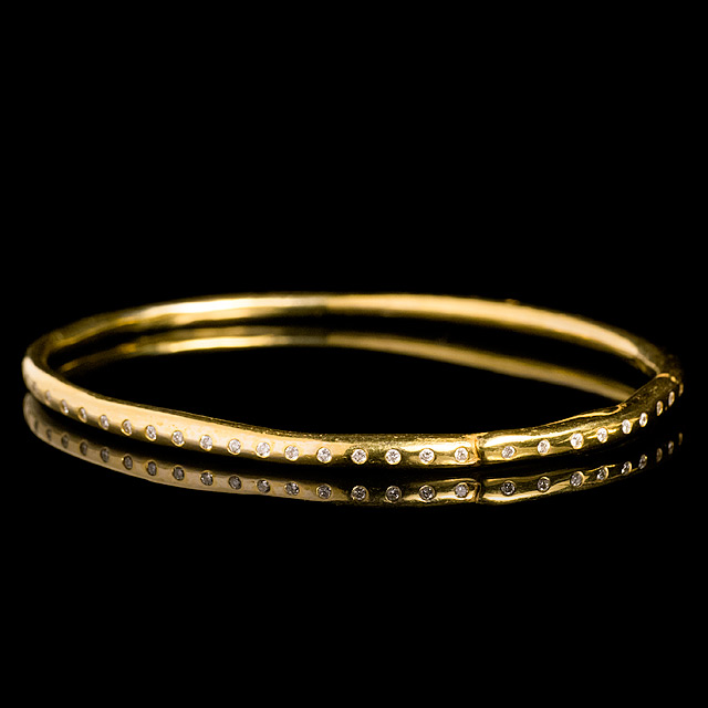 Geoffrey Young Thin Diamond Gold Bangle Bracelet