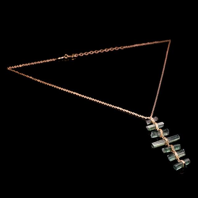 Jacquie Aiche Raw Tourmaline & Diamond Graduated Rose Gold Necklace