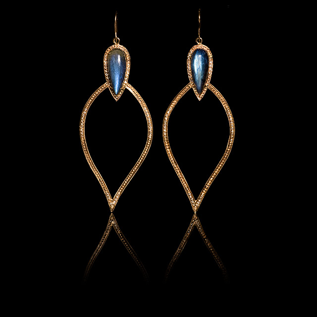 Jacquie Aiche Diamond & Labradorite Rose Gold Moroccan Earrings