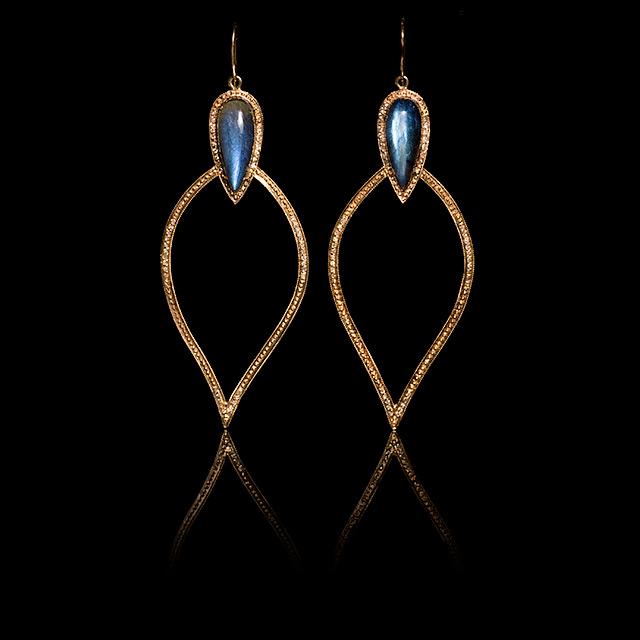 Jacquie Aiche Diamond & Labradorite Rose Gold Moroccan Earrings