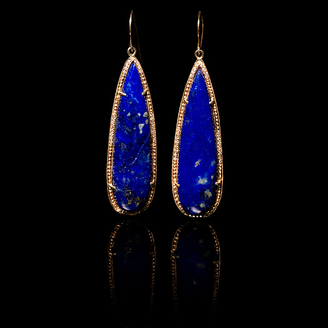 Jacquie Aiche Diamond & Lapis Rose Gold Earrings