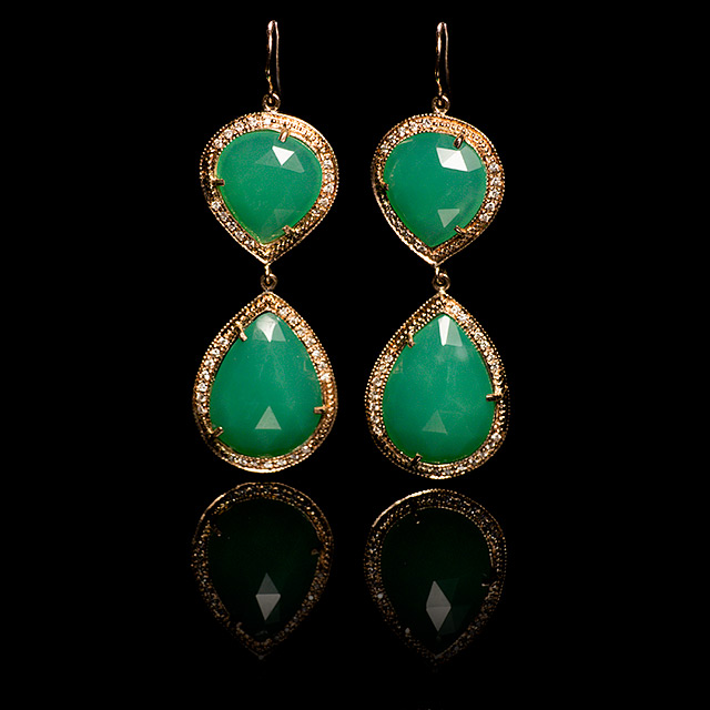 Jacquie Aiche Diamond Pavé & Chrysoprase Rose Gold Trinity Earrings