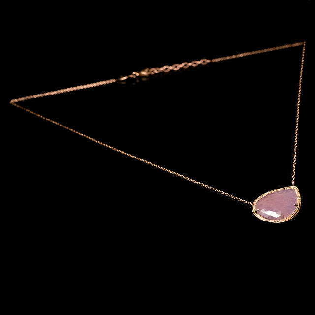 Jacquie Aiche Diamond & Pink Sapphire Rose Gold Necklace