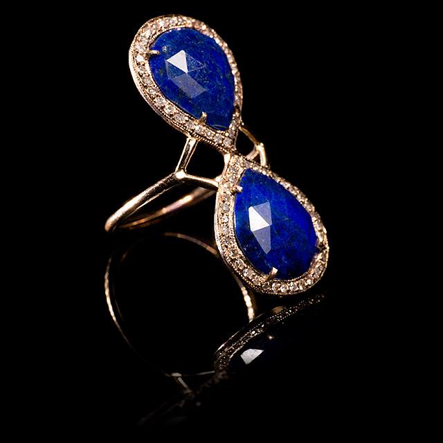 Jacquie Aiche Diamond Pavé & Lapis Gold Trinity Ring
