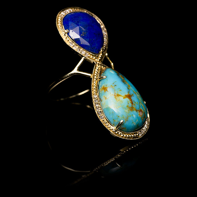 Jacquie Aiche Diamond, Turquoise & Lapis Gold Trinity Ring