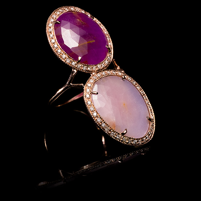 Jacquie Aiche Diamond Pavé Two Tone Pink Sapphire Rose Gold Trinity Ring