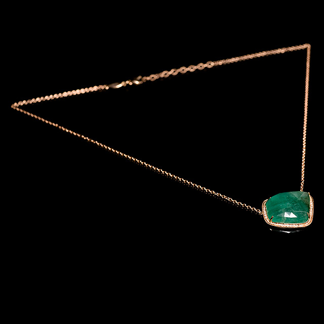 Jacquie Aiche Diamond & Freeform Emerald Rose Gold Necklace