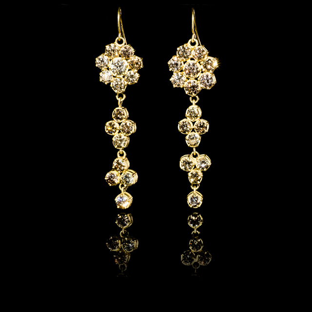 LFrank Diamond Flower Drop Earrings
