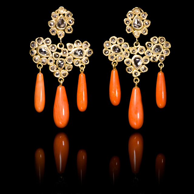 LFrank Diamond & Gold Paisley Coral Drop Earrings