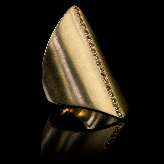 LFrank Diamond Gold Stripe Ring