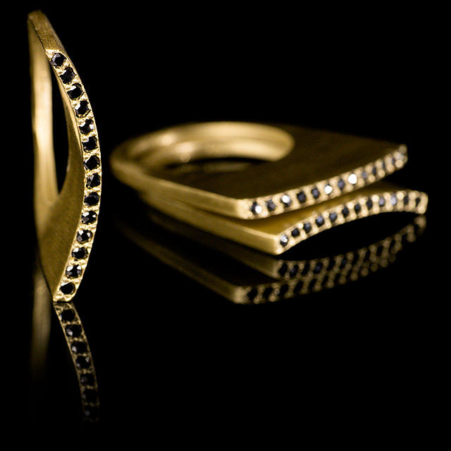 LFrank Black Diamond Gold Stacking Ring with Long Slight Curve