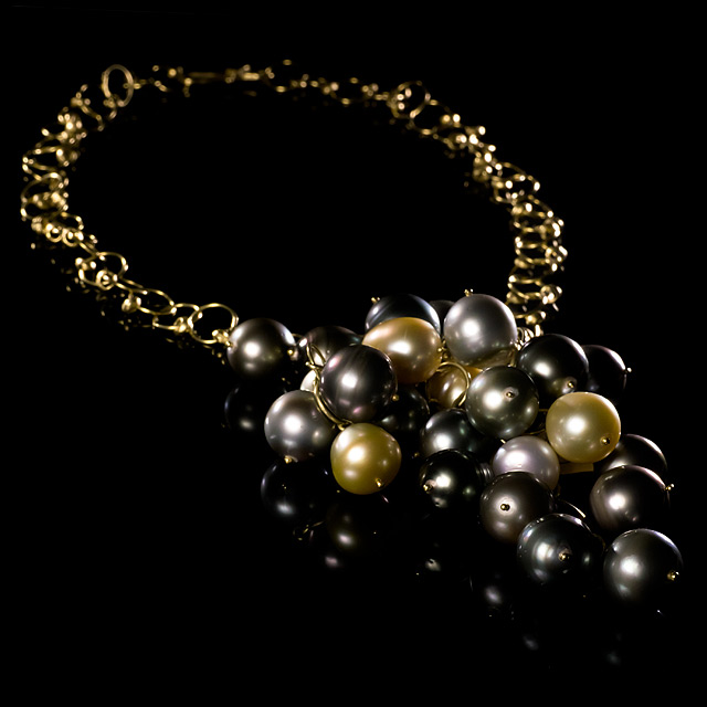 LFrank South Sea Pearl Cluster Gold Necklace with Diamond Clasp