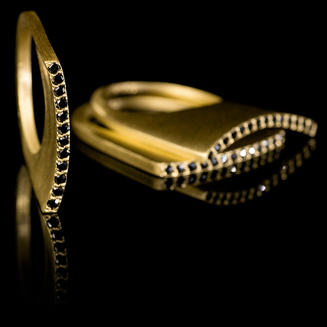 LFrank Black Diamond Gold Stacking Ring with Slight Curve