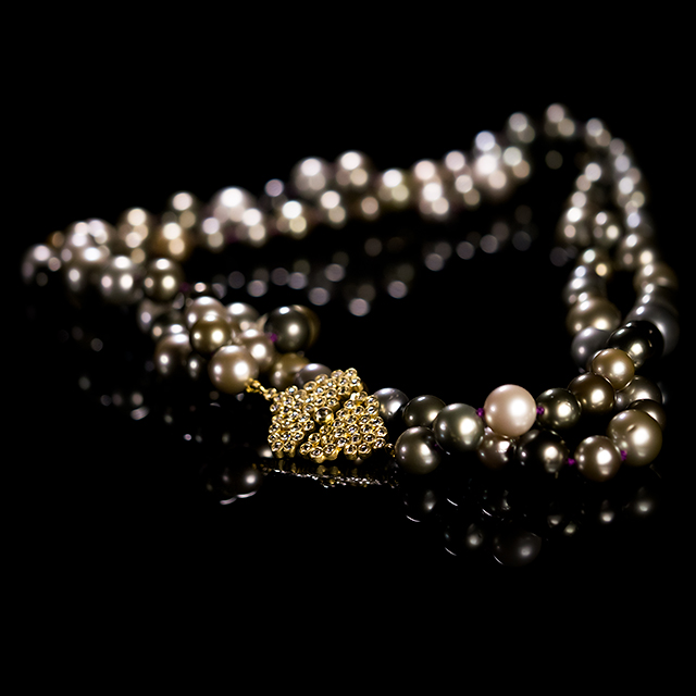 LFrank Tahitian Pearl Necklace with Rose Cut Gold Honeycomb Diamond Clasp